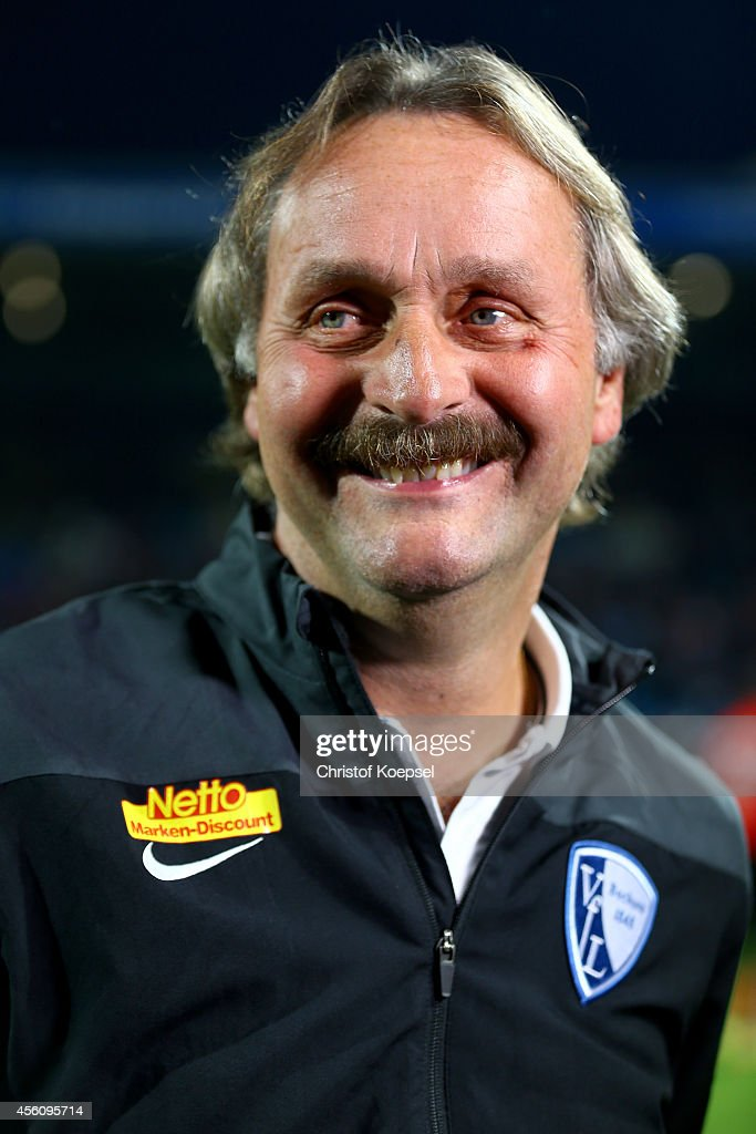 Head coach Peter Neururer of Bochum smiles prior tothe Second Bundesliga match between VfL Bochum and Fortuna Duesseldorf at Rewirpower Stadium on...