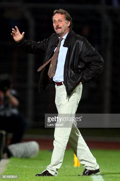 Head coach Peter Neururer of Duisburg gestures during the Second Bundesliga match between RotWeiss Oberhausen and MSV Duisburg at the Stadion...