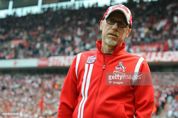 Head coach Peter Stöger of Colonge looks on during the Bundesliga Match between 1FC Koeln and1 FSV Mainz 05 at RheinEnergieStadion on May 20 2017 in...