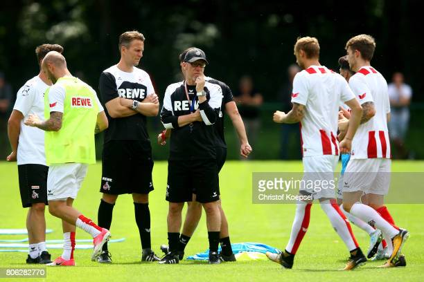 Head coach Peter Stoeger attends the training session of 1 FC Koeln at RheinEnergieSportpark on July 3 2017 in Cologne Germany