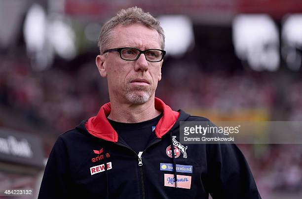 Head coach Peter Stoeger looks on prior to the Bundesliga match between VfB Stuttgart and 1 FC Koeln at MercedesBenz Arena on August 16 2015 in...