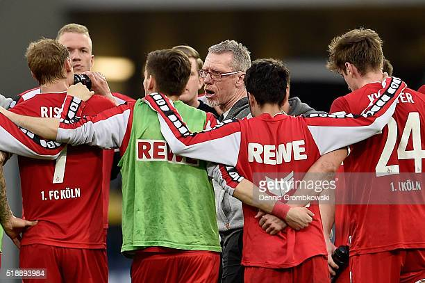 Head coach Peter Stoeger of 1 FC Koeln holds a speach after the Bundesliga match between 1899 Hoffenheim and 1 FC Koeln at Wirsol RheinNeckarArena on...