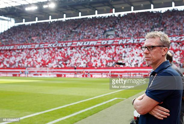 Head Coach Peter Stoeger of Cologne looks on prior the Bundesliga match between 1 FC Koeln and VfL Wolfsburg at RheinEnergieStadion on August 22 2015...
