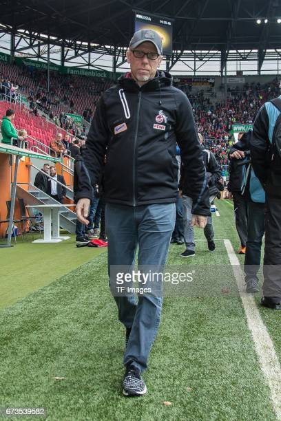 Head coach Peter Stoeger of Colonge looks on during the Bundesliga match between FC Augsburg and 1 FC Koeln at WWK Arena on April 15 2017 in Augsburg...