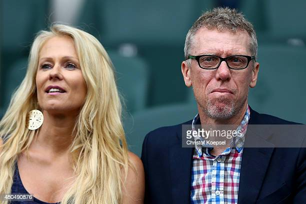 Head coach Peter Stoeger of Koeln and his grilfriend Ulrike Kriegler watch the Telekom Cup 2015 Semi Final match between Borussia Moenchegladbach and...