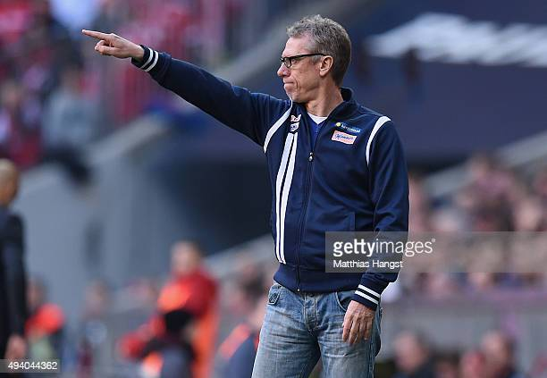 Head coach Peter Stoeger of Koeln gestures during the Bundesliga match between FC Bayern Muenchen and 1 FC Koeln at Allianz Arena on October 24 2015...