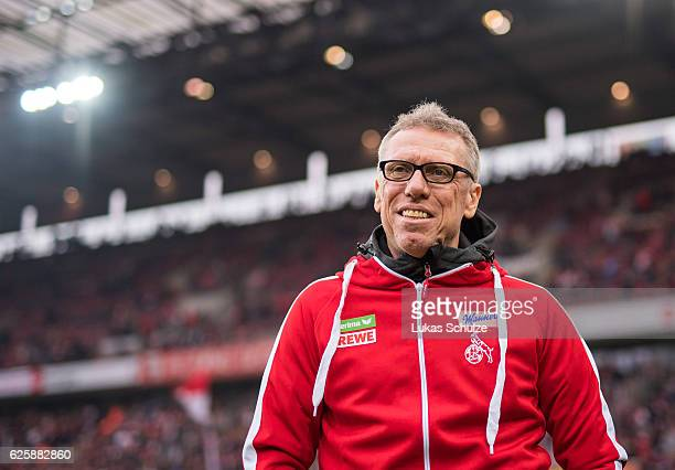 Head Coach Peter Stoeger of Koeln is seen prior to the Bundesliga match between 1 FC Koeln and FC Augsburg at RheinEnergieStadion on November 26 2016...