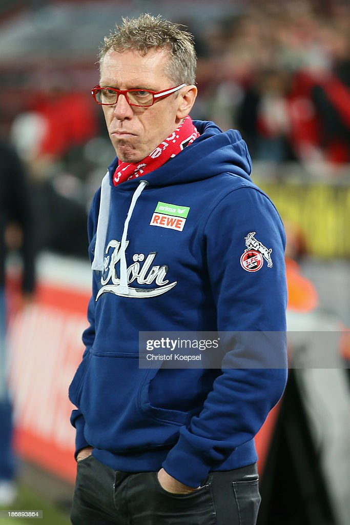Head coach Peter Stoeger of Koeln looks on during the Second Bundesliga match between 1. FC Koeln and 1. FC Union Berlin at RheinEnergieStadion on November 4, 2013 in Cologne, Germany. The match between Koeln and Union Berlin ended 4-0.