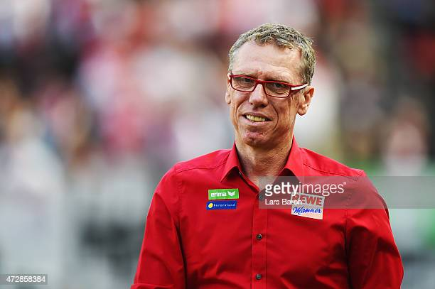 Head coach Peter Stoeger of Koeln looks on prior to the Bundesliga match between 1 FC Koeln and FC Schalke 04 at RheinEnergieStadion on May 10 2015...