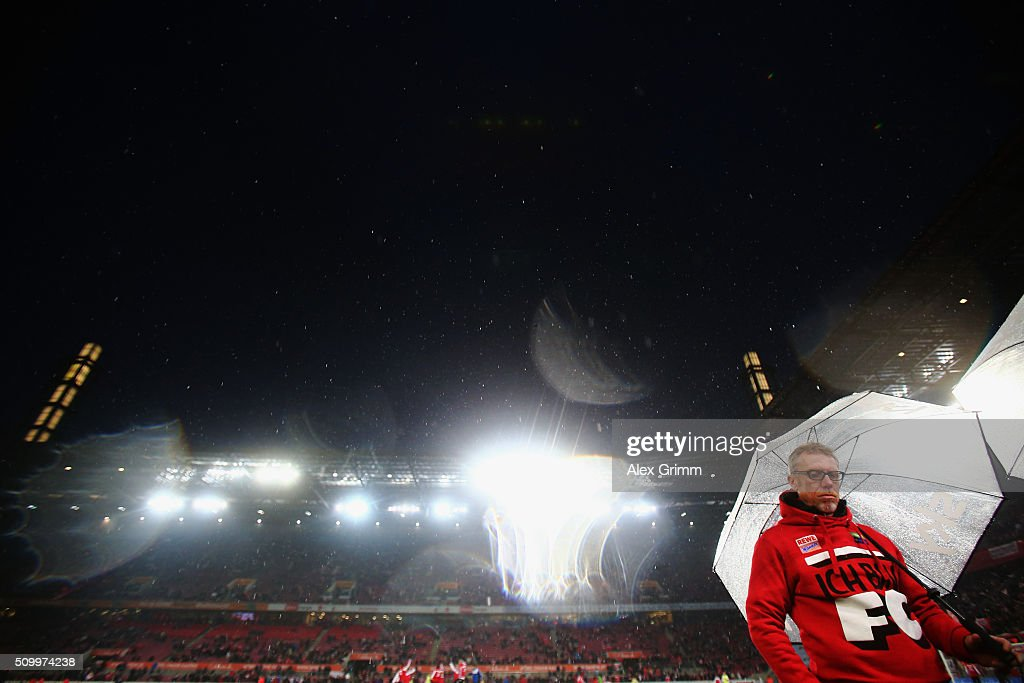 Head coach Peter Stoeger of Koeln looks on prior to the Bundesliga match between 1. FC Koeln and Eintracht Frankfurt at RheinEnergieStadion on February 13, 2016 in Cologne, Germany.