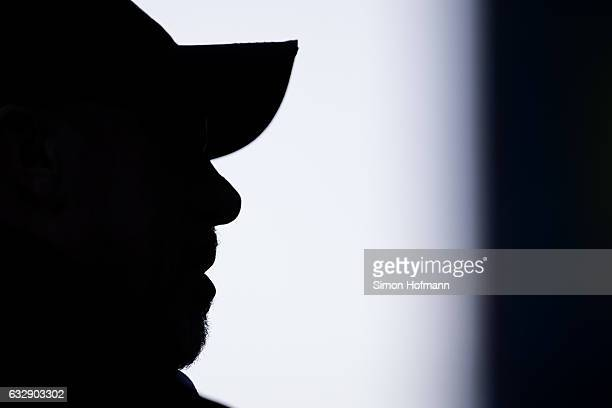 Head coach Peter Stoeger of Koeln looks on prior to the Bundesliga match between SV Darmstadt 98 and 1 FC Koeln at JonathanHeimesStadion am...