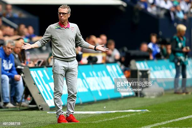 Head coach Peter Stoeger of Koeln looks thoughtful during the Bundesliga match between FC Schalke 04 and 1 FC Koeln at VeltinsArena on October 4 2015...