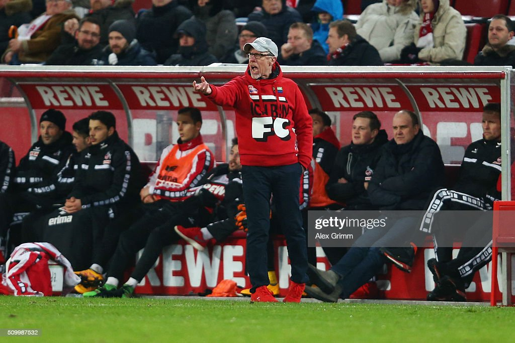 Head coach Peter Stoeger of Koeln reacts after the Bundesliga match between 1. FC Koeln and Eintracht Frankfurt at RheinEnergieStadion on February 13, 2016 in Cologne, Germany.