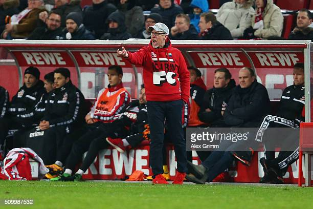 Head coach Peter Stoeger of Koeln reacts after the Bundesliga match between 1 FC Koeln and Eintracht Frankfurt at RheinEnergieStadion on February 13...