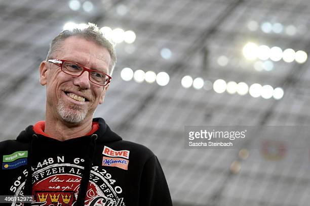 Head coach Peter Stoeger of Koeln reacts prior to during the Bundesliga match between Bayer Leverkusen and 1 FC Koeln at BayArena on November 7 2015...