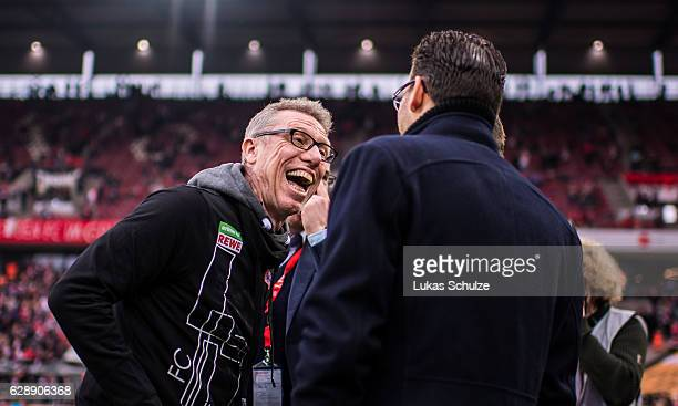 Head Coach Peter Stoeger smiles prior to the Bundesliga match between 1 FC Koeln and Borussia Dortmund at RheinEnergieStadion on December 10 2016 in...