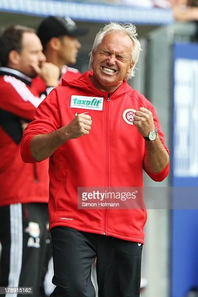 Head coach Peter Vollmann of Wiesbaden reacts during the Third Bundesliga match between SV Wehen Wiesbaden and RasenBallsport Leipzig at Brita Arena...