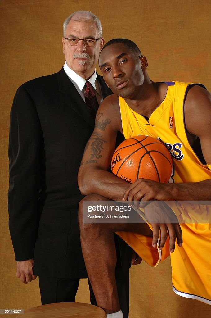 Head Coach Phil Jackson and Kobe BRyant #8 of the Los Angeles Lakers pose for a studio photo portrait on October 3, 2005 at the Toyota Training Center in El Segundo, California.