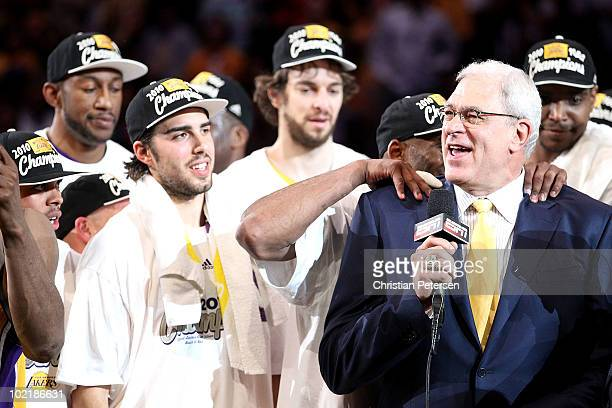 Head coach Phil Jackson of the Los Angeles Lakers celebrates after the Lakers defeated the Boston Celtics in Game Seven of the 2010 NBA Finals at...