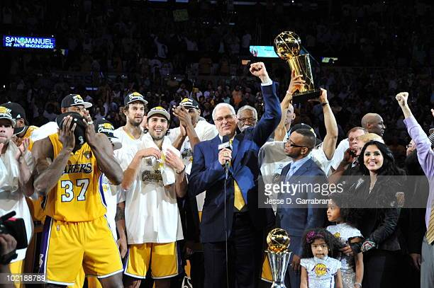Head Coach Phil Jackson of the Los Angeles Lakers celebrates after defeating the Boston Celtics 8379 in Game Seven of the 2010 NBA Finals on June 17...