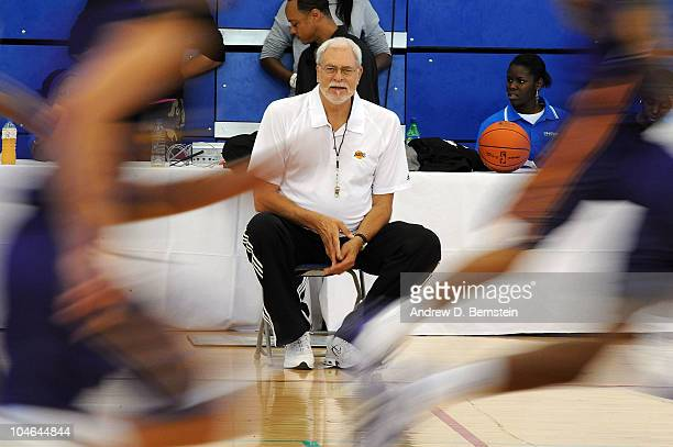 Head Coach Phil Jackson of the Los Angeles Lakers looks on during practice at the Crystal Palace National Sports Centre on October 2 2010 in London...