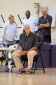 Head coach Phil Jackson of the Los Angeles Lakers observes during the Lakers live practice on October 1 2009 at Toyota Sports Center in El Segundo...