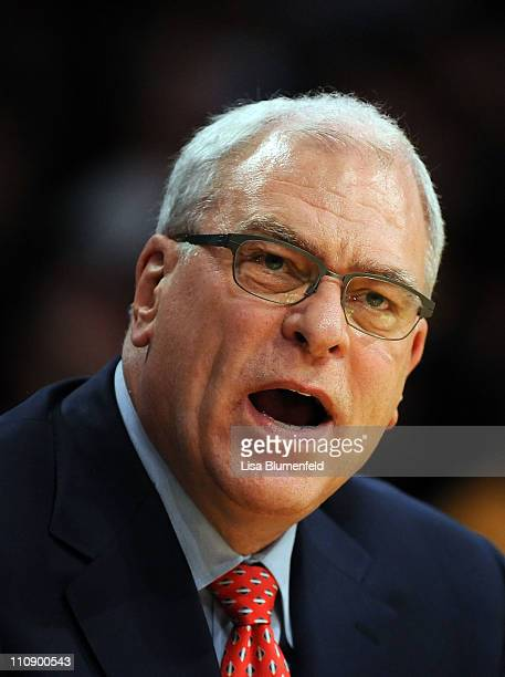 Head coach Phil Jackson of the Los Angeles Lakers reacts during the game against the Los Angeles Clippers at Staples Center on March 25 2011 in Los...