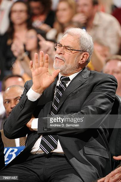 Head coach Phil Jackson of the Los Angeles Lakers reacts on the bench during the game against the Phoenix Suns on February 20 2008 at US Airways...