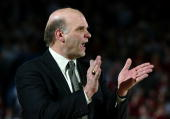 Head coach Phil Martelli of the Saint Joseph's University Hawks encourages his team as they defeated the Temple University Owls 7653 during Atlantic...