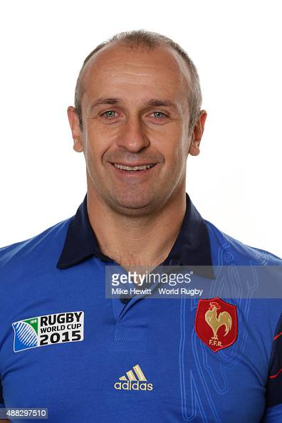 Head coach Philippe SaintAndre of France poses during the France Rugby World Cup 2015 squad photo call at the Selsdon Park Hotel on September 15 2015...
