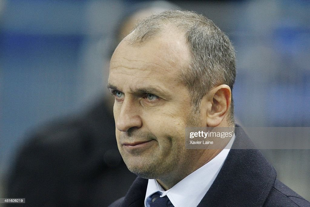 Head coach <a gi-track='captionPersonalityLinkClicked' href=/galleries/search?phrase=Philippe+Saint-Andre&family=editorial&specificpeople=2172154 ng-click='$event.stopPropagation()'>Philippe Saint-Andre</a> of France reacts before the international test match between France and South Africa at Stade de France on November 23, 2013 in Paris, France.