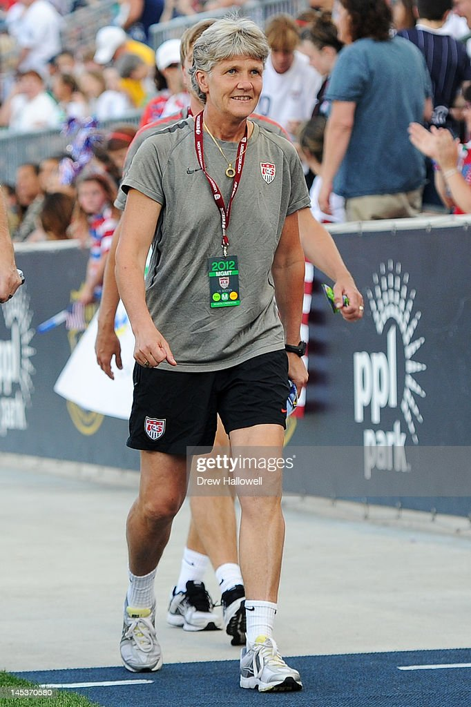 Head coach Pia Sundhage of the USA walks to the bench during the game against China at PPL Park on May 27, 2012 in Chester, Pennsylvania. USA won 4-1.