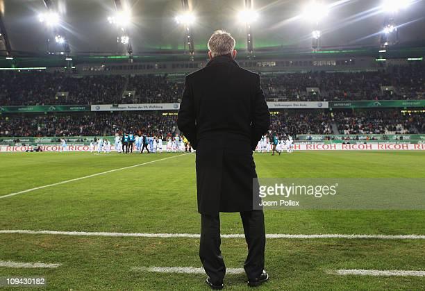 Head coach Pierre Littbarski of Wolfsburg is seen prior to the Bundesliga match between VfL Wolfsburg and Borussia M'gladbach at the Volkswagen Arena...