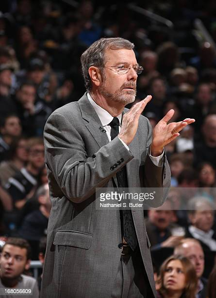 Head Coach PJ Carlesimo of the Brooklyn Nets applauds during the Game Seven of the Eastern Conference Quarterfinals between the Chicago Bulls and the...