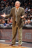 Head Coach PJ Carlesimo of the Brooklyn Nets directs his team against the San Antonio Spurs on February 10 2013 at the Barclays Center in the...