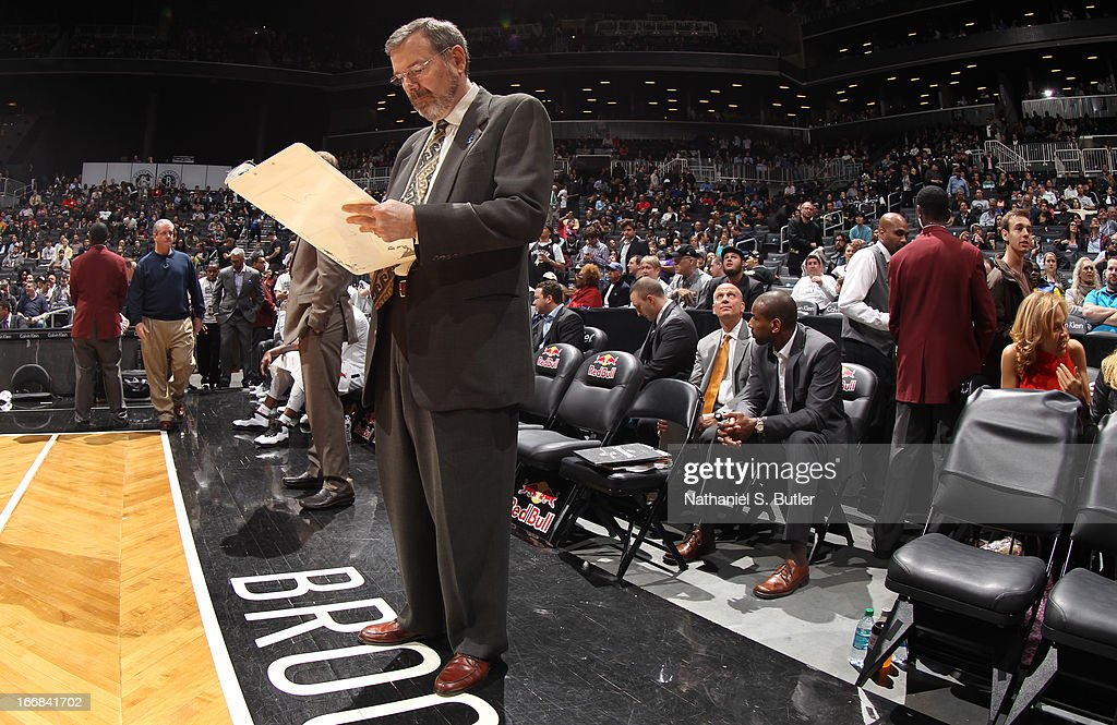 Head Coach P.J. Carlesimo of the Brooklyn Nets during a game against the Detroit Pistons on April 17, 2013 at the Barclays Center in the Brooklyn borough of New York City.