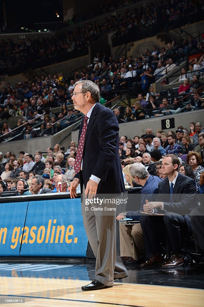 Head Coach P.J. Carlesimo of the Brooklyn Nets looks on against the San Antonio Spurs on December 31, 2012 at the AT&T Center in San Antonio, Texas.