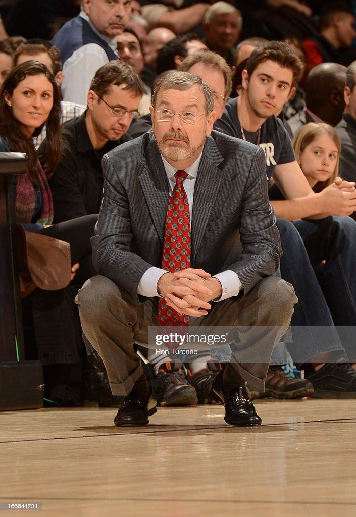 Head Coach P.J. Carlesimo of the Brooklyn Nets looks on during the game between the Toronto Raptors and the Brooklyn Nets on April 14, 2013 at the Air Canada Centre in Toronto, Ontario, Canada.
