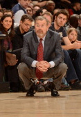 Head Coach PJ Carlesimo of the Brooklyn Nets looks on during the game between the Toronto Raptors and the Brooklyn Nets on April 14 2013 at the Air...