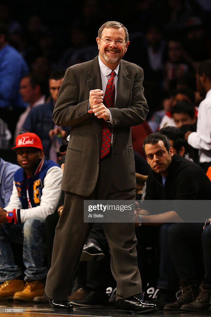 Head coach P.J. Carlesimo of the Brooklyn Nets reacts during the first quarter against the Atlanta Hawks during the game at Barclays Center on January 18, 2013 in the Brooklyn borough of New York City.