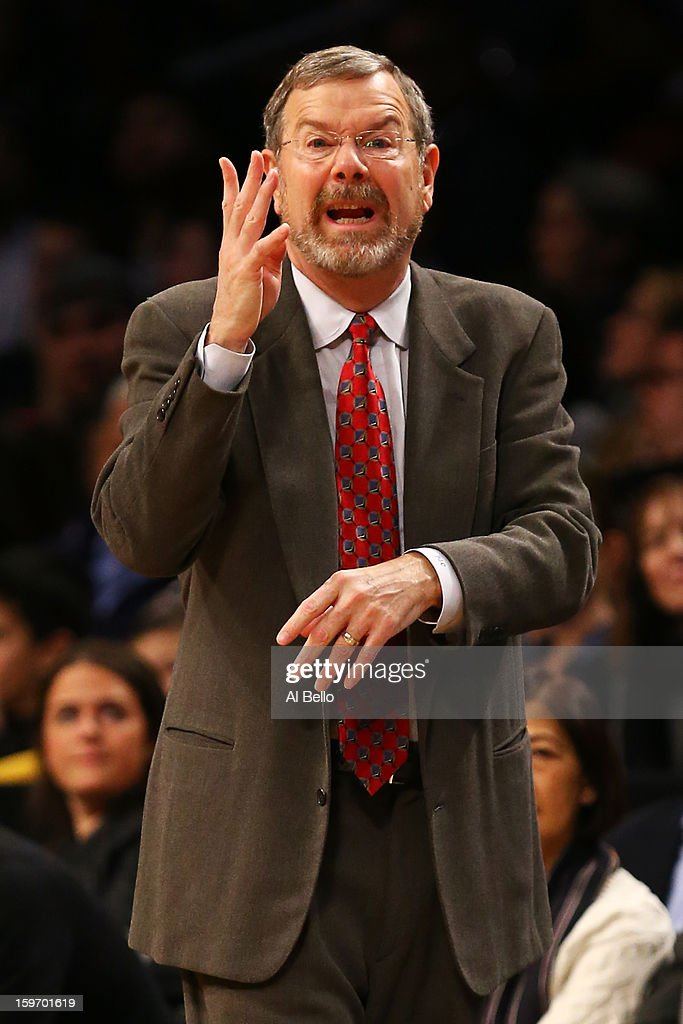 Head coach P.J. Carlesimo of the Brooklyn Nets reacts during the second quarter against the Atlanta Hawks during the game at Barclays Center on January 18, 2013 in the Brooklyn borough of New York City.