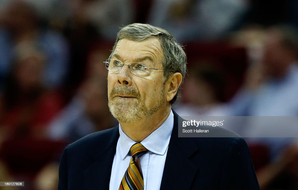 Head coach P.J. Carlesimo of the Brooklyn Nets waits on the court during the game against the Houston Rockets at Toyota Center on January 26, 2013 in Houston, Texas.