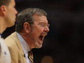 Head coach PJ Carlesimo of the Brooklyn Netsyells at his team against Chicago Bulls in Game Six of the Eastern Conference Quarterfinals during the...
