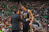 Head coach Quin Snyder and Rudy Gobert of the Utah Jazz talk during the game against the Brooklyn Nets on January 24 2015 at EnergySolutions Arena in...