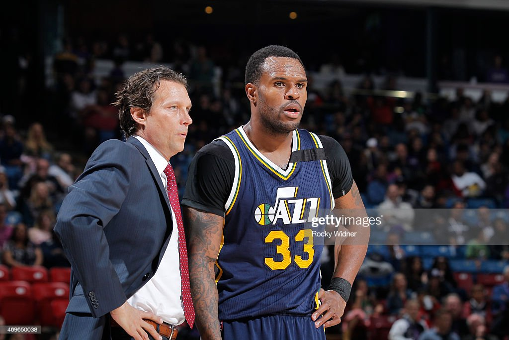 Head Coach Quin Synder of the Utah Jazz coaches Trevor Booker against the Sacramento Kings on April 5 2015 at Sleep Train Arena in Sacramento...