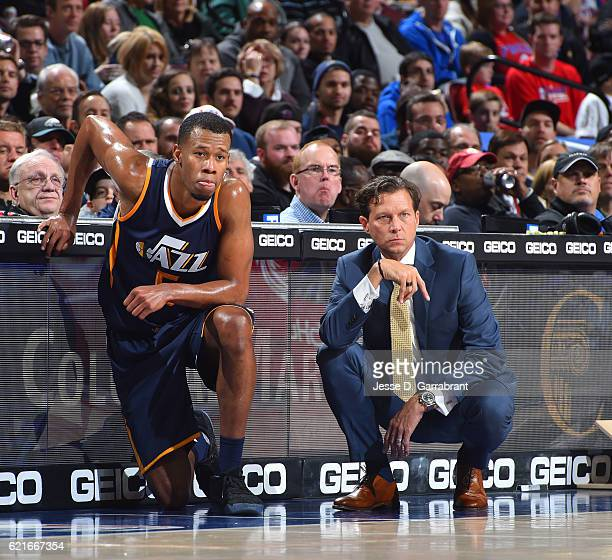 Head Coach Quin Snyder of the Utah Jazz looks on with Rodney Hood against the Philadelphia 76ers during a game at the Wells Fargo Center on November...