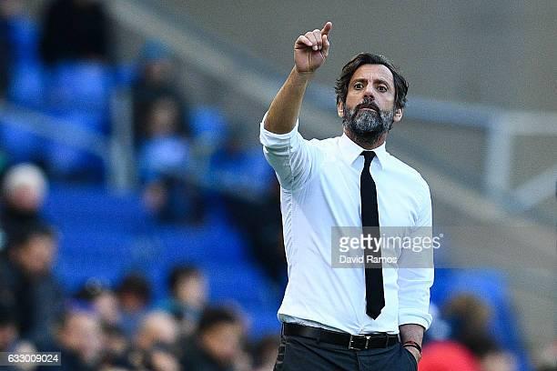 Head coach Quique Sanchez Flores of RCD Espanyol reacts during the La Liga match between RCD Espanyol and Sevilla FC at CornellaEl Prat stadium on...