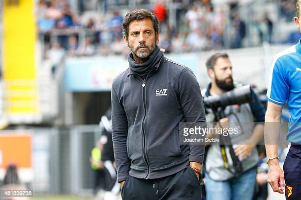 Head Coach Quique Sanchez Flores of Watford during the preseason friendly match between SC Paderborn and Watford FC at Benteler Arena on July 19 2015...