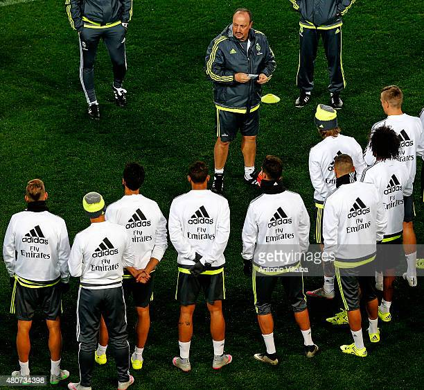 Head Coach Rafa Benitez of Real Madrid during a training session on July 15 2015 in Melbourne Australia