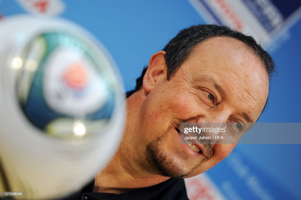 Head coach Rafael Benitez of FC Internazionale Milano smiles as he listens to questions from the media during his team arrival press conference at Zayed Sports City stadium on December 11, 2010 in Abu Dhabi, United Arab Emirates.